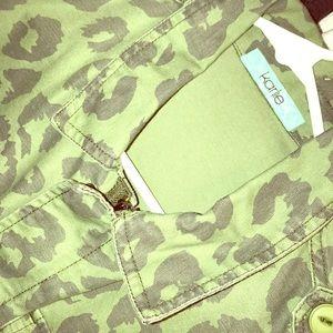 Tops - KARLIE  green leopard print coat- super cute